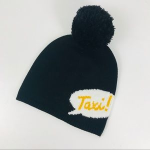 Kate Spade Black Taxi Pom Beanie Hat